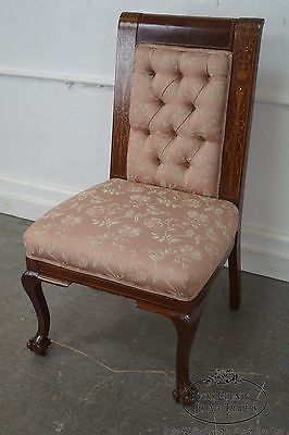 Horner Antique Marquetry Inlaid Mahogany Claw Foot Slipper Chair