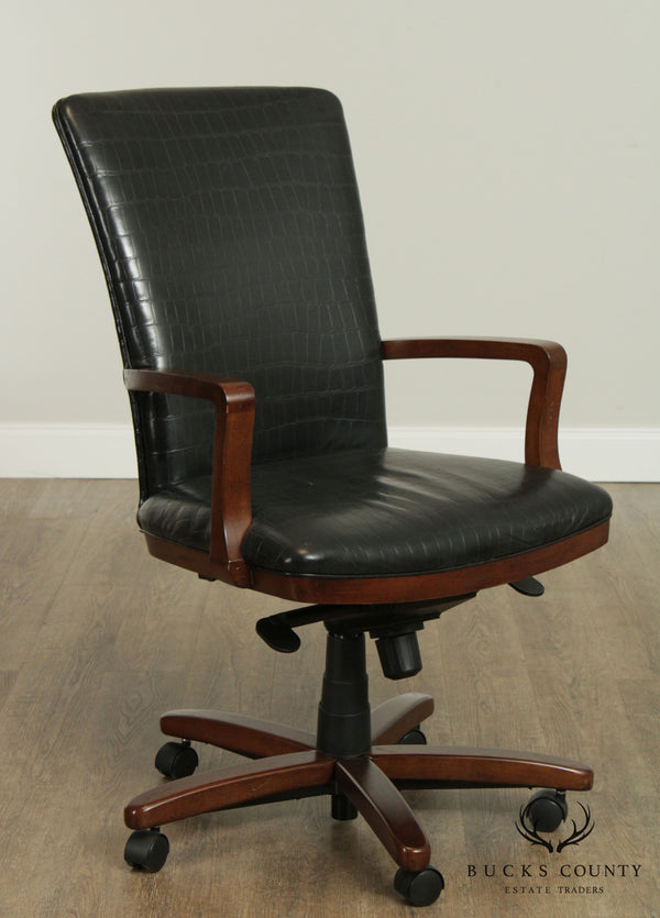 Hancock & Moore Faux Alligator Embossed Black Leather Desk Chair
