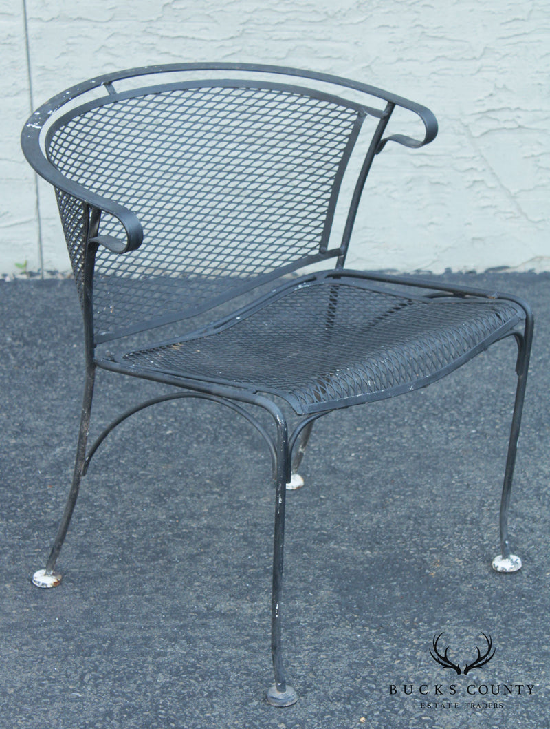 Wrought Iron & Expanded Metal Vintage Set 4 Curved Back Patio Dining Chairs