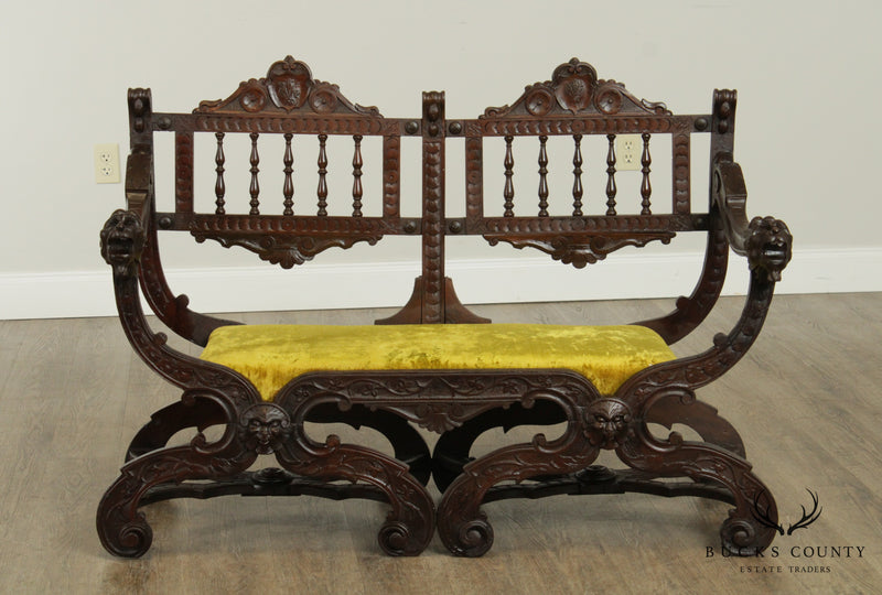 Italian Renaissance Style Antique Carved Double Back Settee