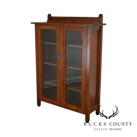 Mission Arts & Crafts Style Solid Cherry 2 Door Bookcase