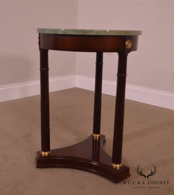 French Empire Style Mahogany Round Marble Top Side Table Pedestal by Bombay