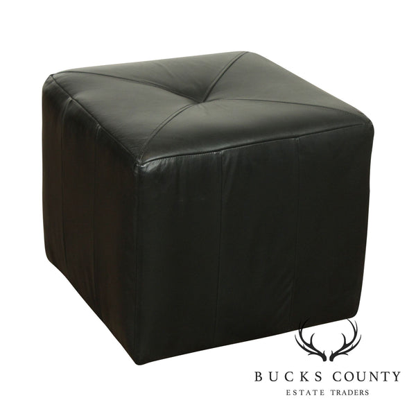 England Inc. Square Corona Black Leather Ottoman