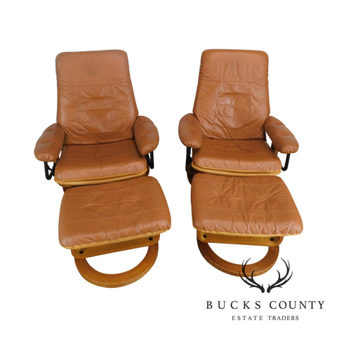 Chairworks Brown Leather Pair Swivel Recliner Lounge Chairs w/ Ottomans
