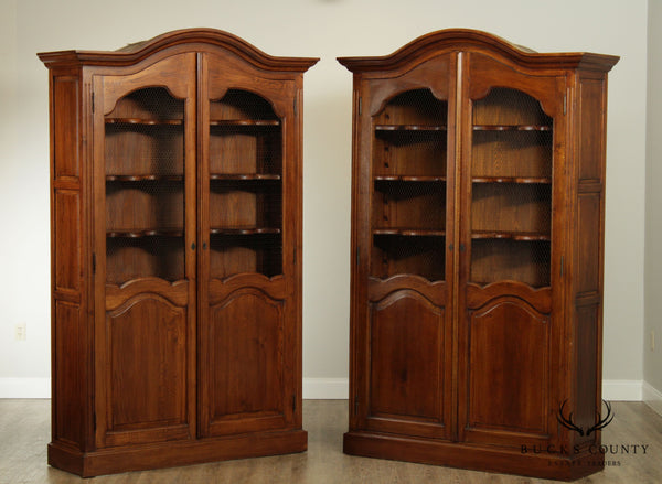 French Country Style Custom Quality Large Pair Bookcases Cabinets