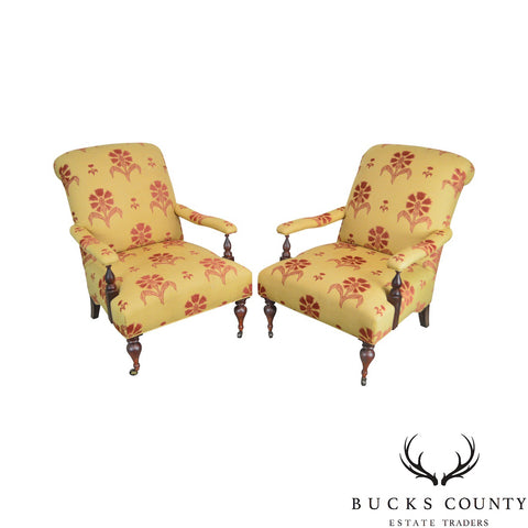 Baker Milling Road Collection Pair of French Cigar Reading Lounge Chairs