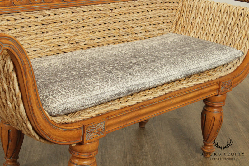 Anglo Indian West Indies Style Carved Settee, Woven Seagrass
