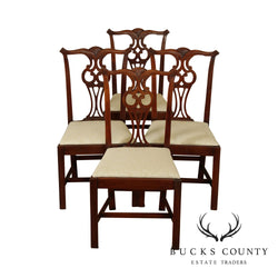 Hickory Chair Co. Chippendale Style Set 4 Mahogany Dining Chairs