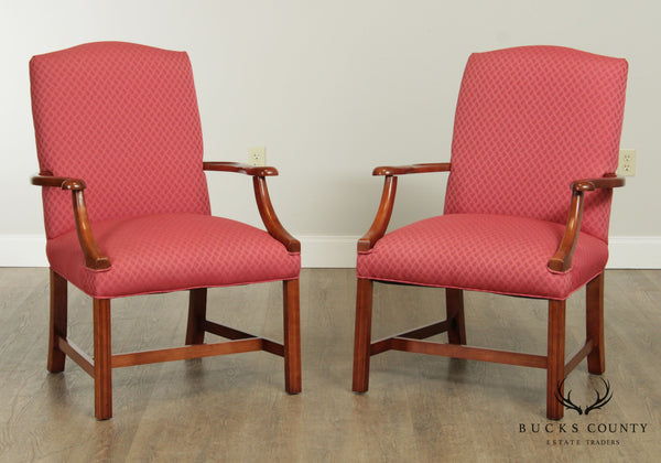 Chippendale Style Cherry Wood Frame Pair Library Armchairs