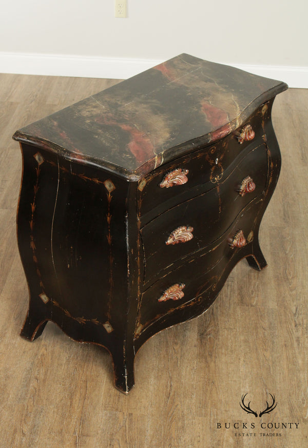 Patina Venetian Style Hand Painted Bombe Commode Chest