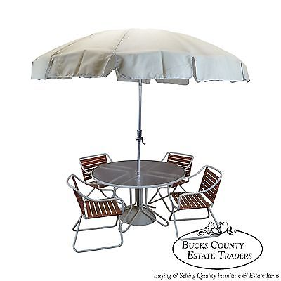 Brown Jordan Mid Century Aluminum & Vinyl Strap Round Glass Top Patio Set (B)
