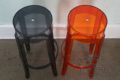 Charles Ghost Pair of Polycarbonate Bar Stools by Kartell