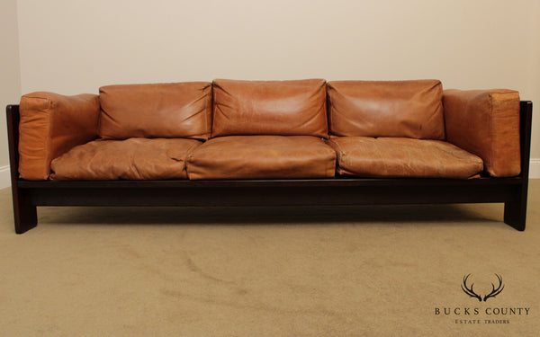 Tobia Scarpa for Knoll Mid Century Modern Rosewood and Leather Bastiano Sofa