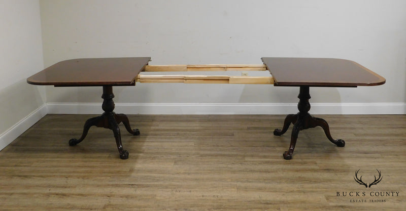 Hickory Chair Georgian Style Banded Mahogany Ball & Claw Foot Dining Table