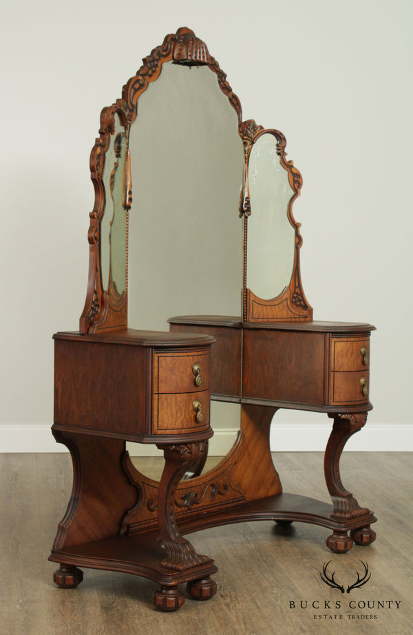 1930's Vintage Walnut Depression Era Vanity
