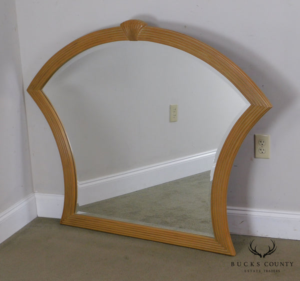 Berhardt Vintage Art Deco Style Shell Carved Frame Beveled Mirror