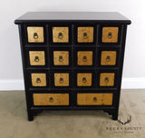 Asian Style Black and Gold Apothecary Cabinet Chest