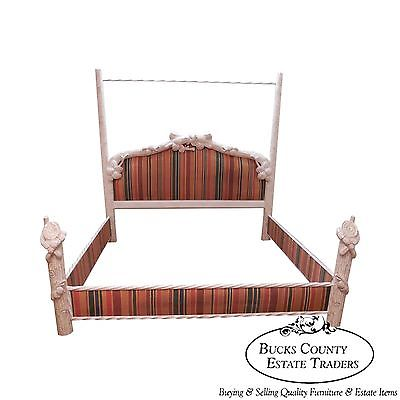 Quality Shabby Painted Rustic Adirondack Faux Branch King Size Poster Bed