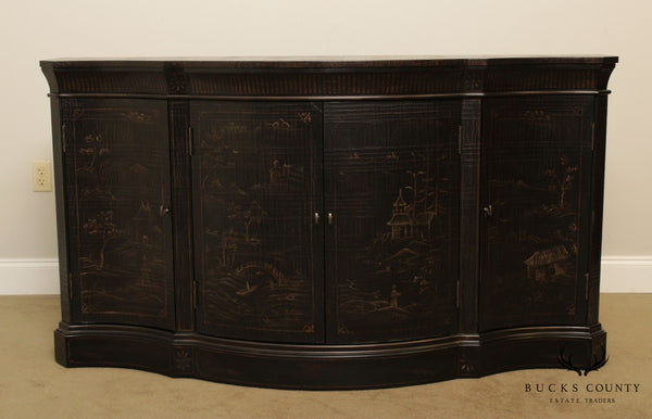 Ethan Allen Black Chinoserie Style 'Vivianne' Serpentine Console Sideboard