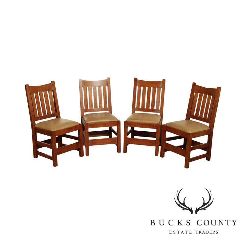 Stickley Mission Collection Set 4 Oak V-Back Dining Chairs