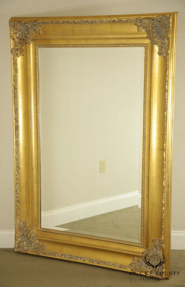 Renaissance Style Large Gold Gilt Wood Frame Beveled Wall Mirrror