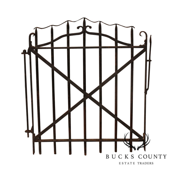 Antique 19th Century Hand Forged Wrought Iron Courtyard Garden Entrance Gate (A)