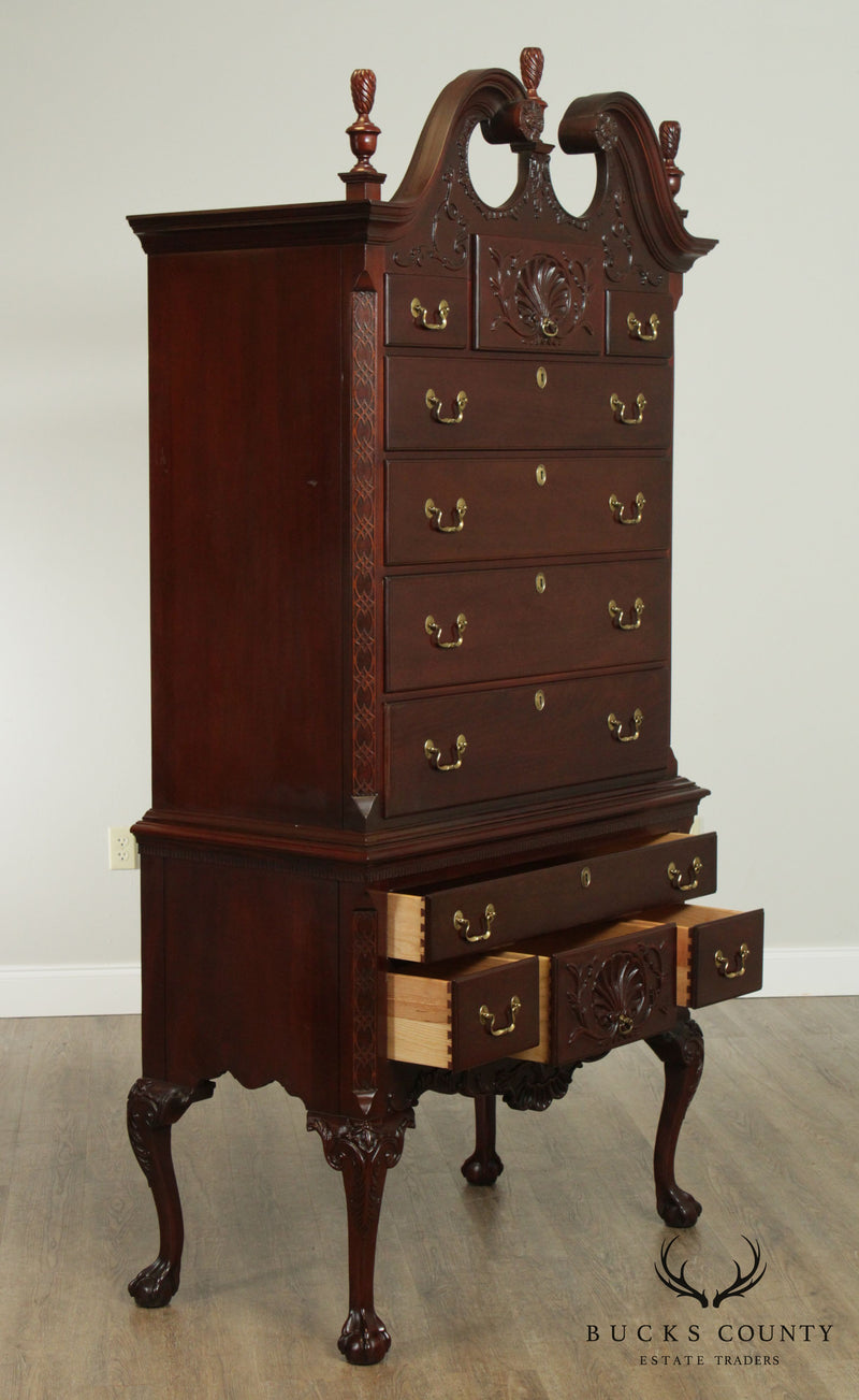 LINK TAYLOR Solid Heirloom Mahogany Chippendale Chest on Chest