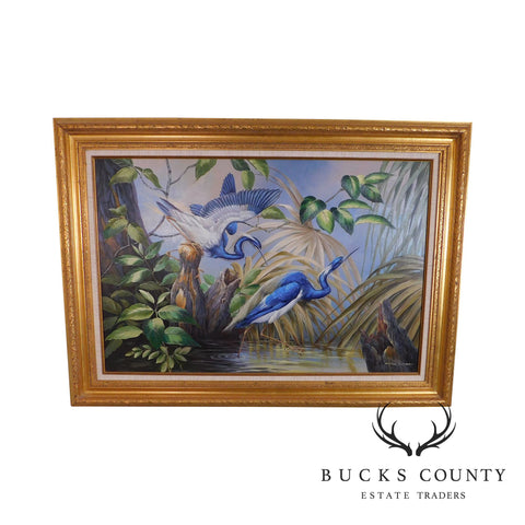 Andre Lange Framed Oil Painting of Great Blue Herons
