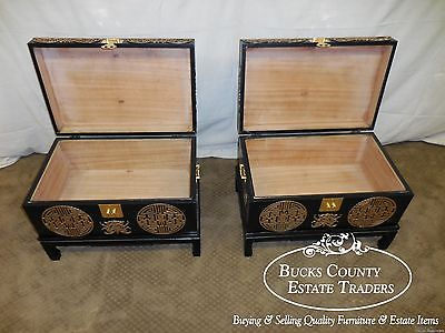 Pair of Black & Gold Painted Oriental Style Boxes Chests on Stands