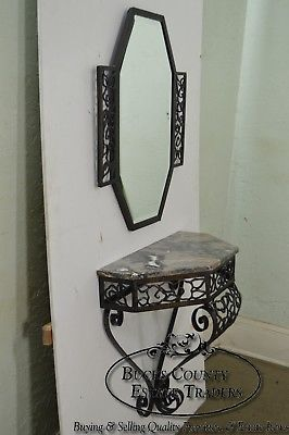 Art Deco Oscar Bach Style Iron Marble Top Wall Console w/ Mirror