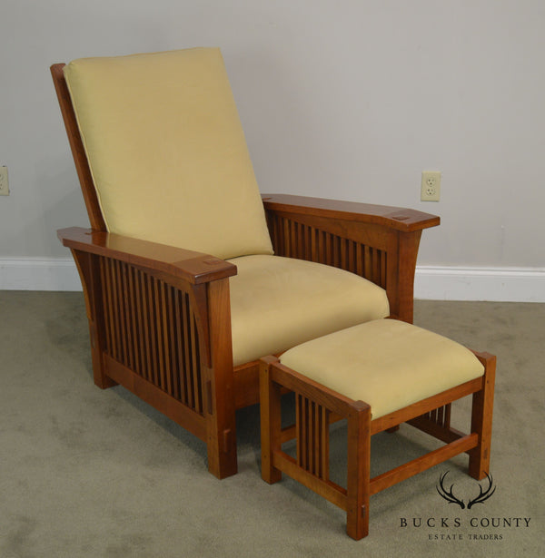 Stickley Mission Collection Cherry Bustle Back Spindle Morris Chair W/ Ottoman