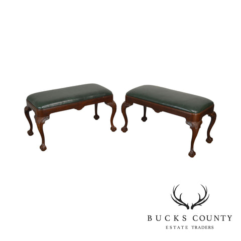 Hickory Chair Green Leather Carved Ball & Claw Leg Solid Mahogany Pair Benches