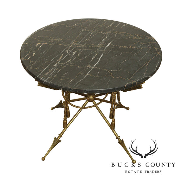 Vintage Italian Neo-Classical Regency Style Brass Crossed Arrows, Round Marble Top Coffee Table