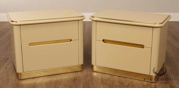Lane 1980's Postmodern Cream & Gold Lacquered Pair Nightstands