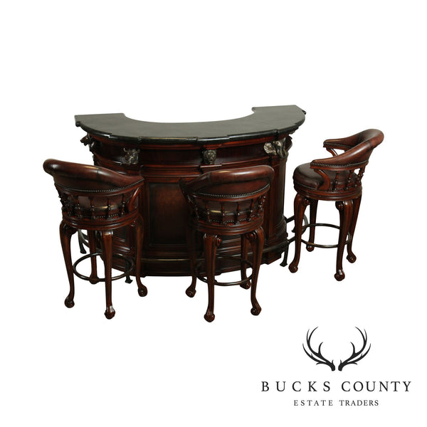 Thomasville Ernest Hemingway Collection Marble Top Trophy Bar with Leather Stools