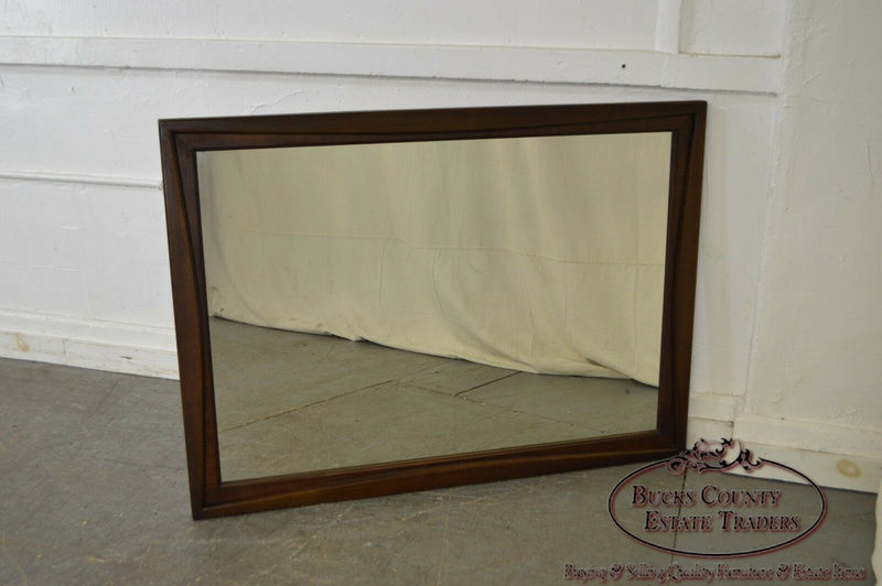Mid Century Modern Walnut Frame Rectangular Wall Mirror