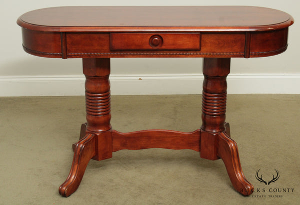 Empire Style Oval Cherry One Drawer Console, Narrow Writing Desk