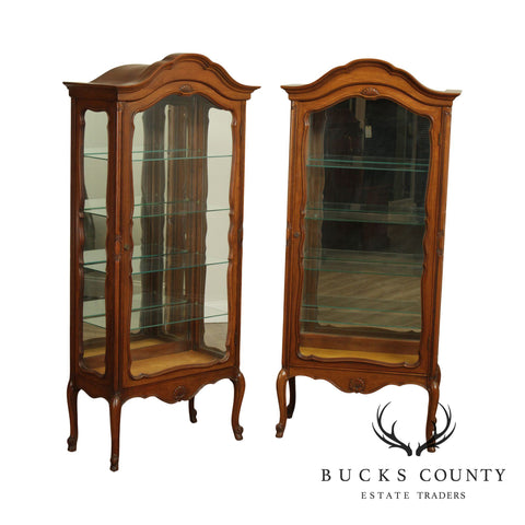 French Louis XV Style Custom Pair Cherry Wood Vitrines Curio Display Cabinets