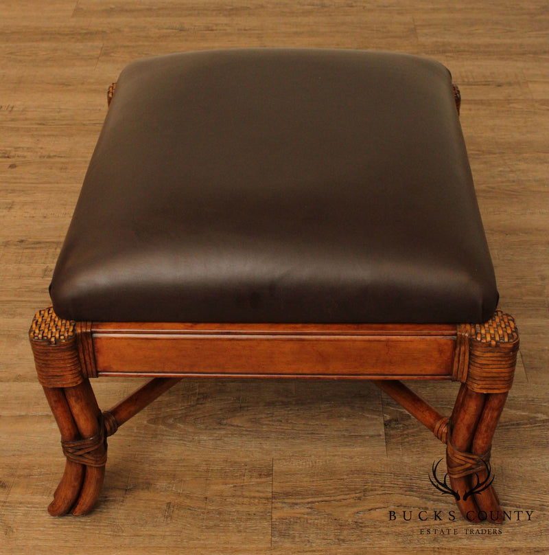 Quality Brown Leather Upholstered Rattan Ottoman