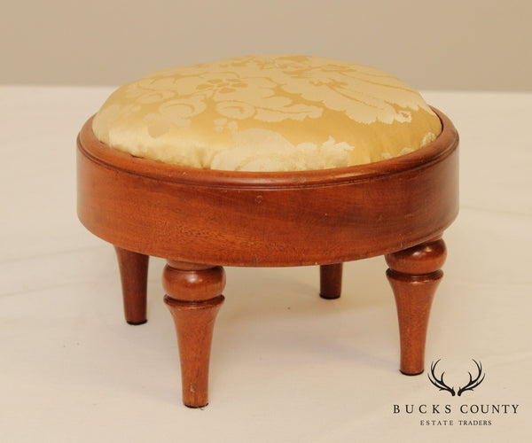 Custom Mahogany Small Round Foot Stool