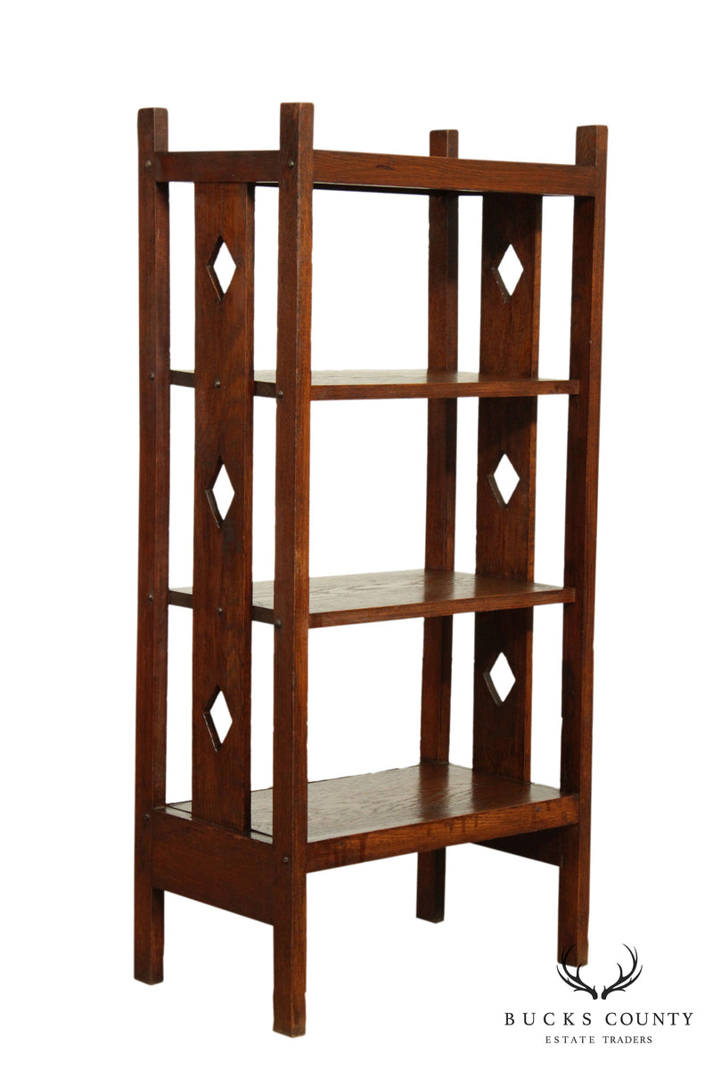 Antique Oak Arts and Crafts Magazine Stand Bookcase