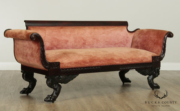 Antique American Empire Classical Mahogany Carved Sofa