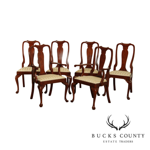 Henkel Harris Solid Cherry Set 6 Traditional Queen Anne Dining Chairs