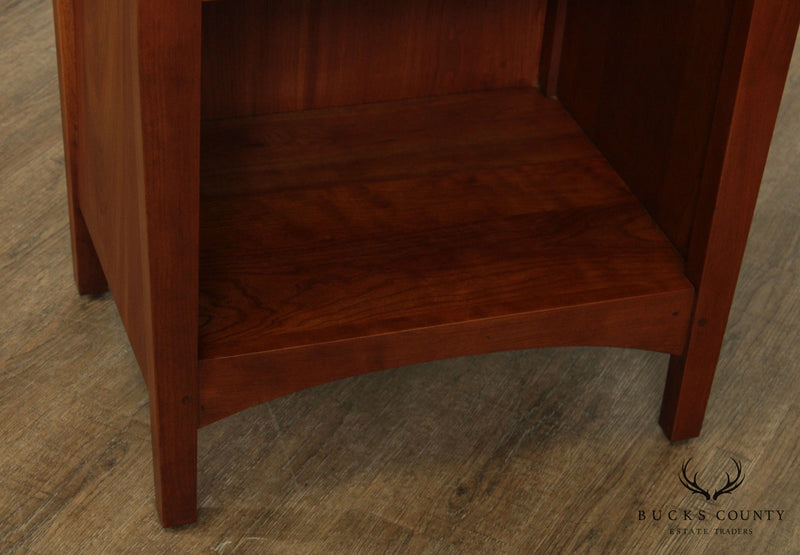 Stickley Mission Collection Cherry, Curley Maple Pair Open Nightstands