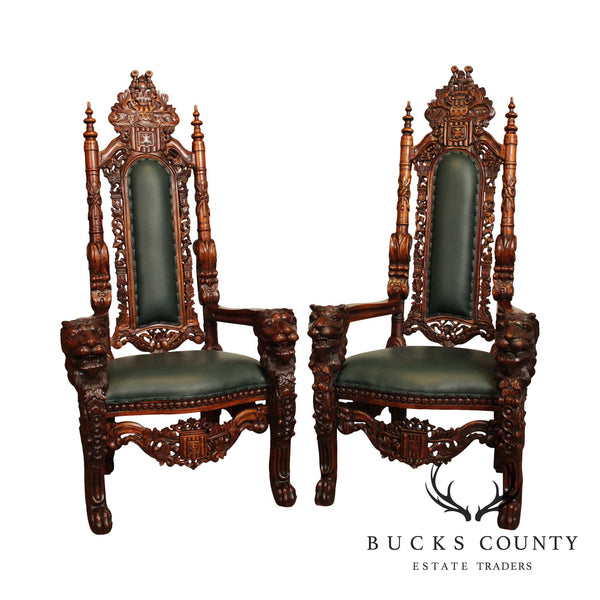 Gothic Renaissance Style Mahogany Pair Lion Carved Pair Throne Chairs