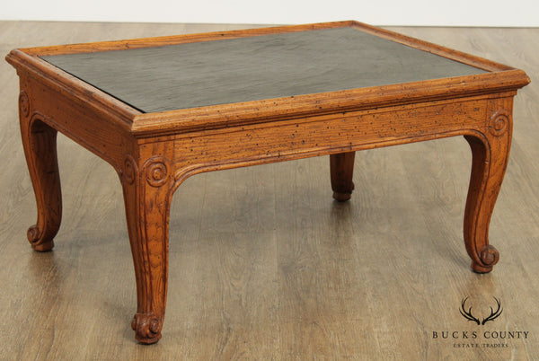 Henredon 'Town & Country' Vintage French Country Style Oak Slate Top Coffee Table