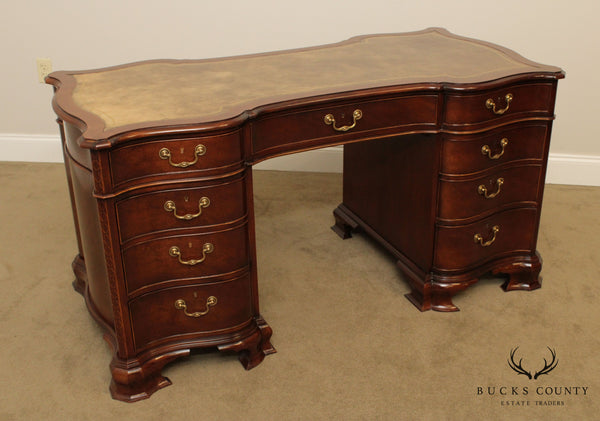 Baker Mahogany Leather Top Double Pedestal Desk