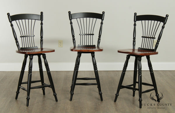 Quality Sheaf Back Set 3 Counter Height Swivel Bar Stools