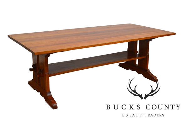Arts & Crafts Style Custom Quality Cherry Trestle Dining Table