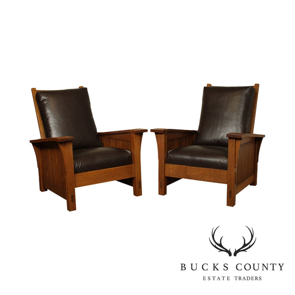 Sickley Mission Collection Oak Pair Brown Leather Spindle Morris Chairs